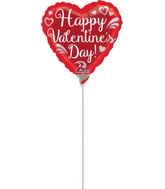 "4"" Airfill Only Fancy Swirls Happy Valentine's Day Balloon"