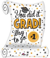 "26"" Jumbo SuperShape You Did It Diploma Balloon"