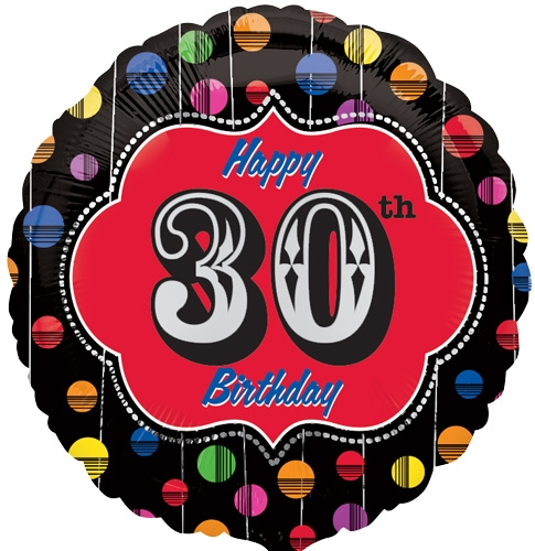 "18"" Happy Birthday Bright Dot 30 Marquee"