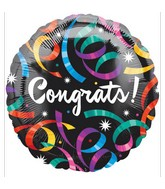 "18"" Congrats Streamers Black Balloon"