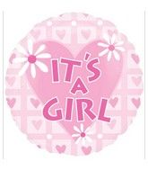 "18"" It's a Girl Pink Heart Balloon"