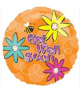 "18"" Get Well Bee with Flowers Balloons"