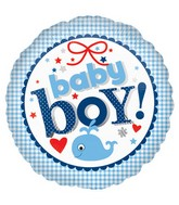 "18"" New Baby Boy Gingham Balloon"