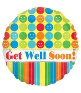 "18"" Get Well Soon Dots & Stripes Balloon"