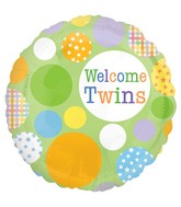 "18"" Welcome Twins Pattern Dots Balloon"