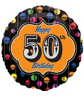 "18"" Happy Birthday Bright Dot 50 Marquee Balloon"