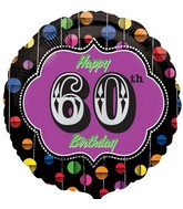 "18"" Happy Birthday Bright Dot 60 Marquee Balloon"