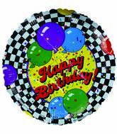 "18"" Happy Birthday Black White Checkered Border"