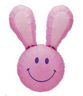 "37"" Smiley Bunny  Face Pink Balloon"