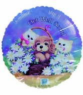 "18"" Get Well Soon Kittens Puppy Flower basket Foil Balloon"