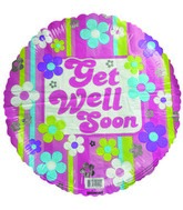 "18"" Get Well Soon Flowers & Lines Balloon"