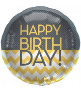 "18"" Happy Birthday Chevron Dots"
