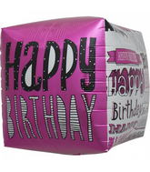 "17"" Happy Birthday Doodles Cube"