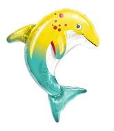 "14"" Happy Dolphin Airfill Balloon Includes Cup and Stick."