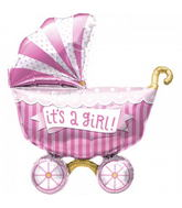 "14"" Its A Girl Buggy Airfill Balloon Includes Cup and Stick."