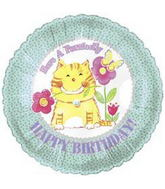 "18"" Have a Purrectly Birthday Cat With Flowers"