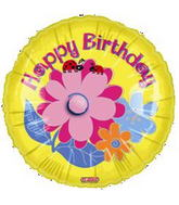 "18"" Happy Birthday Yellow Flowers Balloon"