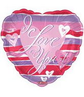 "9"" Airfill Only I Love You Stripes Balloon"
