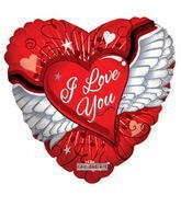 "36"" I Love You Balloon Heart With Wings"