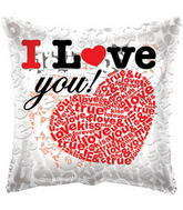 "18"" I Love You Balloon Heart With Letters Clear View"