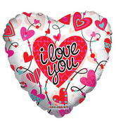 "18"" I Love You Balloon Connected Hearts Clear View"