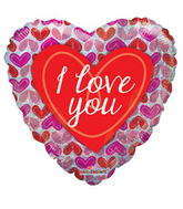 "18"" I Love You Balloon Hearts Pattern Holographic"