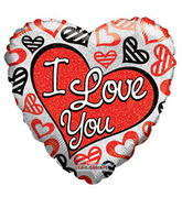 "18"" I Love You Balloon Red & Black Hearts Holographic"