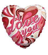 "18"" I Love You Balloon Trendy Pattern"