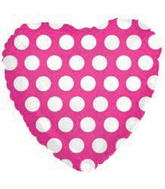 "18"" Hot Pink Heart Balloon with White Polka Dots"