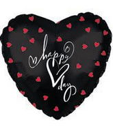 "18"" Happy Heart Day Black with Red Hearts Balloon"