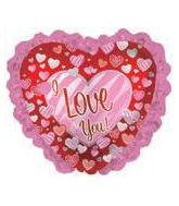 "10"" Airfill Only I Love You Zebra Ruffle Hearts Balloon"