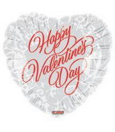 "4"" Airfill Only Happy Valentine's Day Formal Red on White"