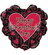 "33"" Happy Valentine&#39s Day Black and Red Ruffled Edge"