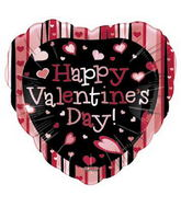 "18"" Happy Valentine&#39s Day Striped Heart Fun Ballon"