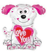 "22"" Love You Pink and White Doggie Shape Balloon Packaged"