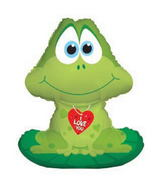 "33"" I Love You Frog Balloon on Lilly Pad"