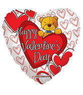 "18"" Happy Valentine&#39s Day Balloon Bear Over Hearts"