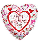 "9"" Happy Valentine&#39s Day Balloon Patterned Hearts"