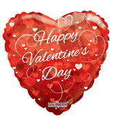 "18"" Happy Valentine&#39s Day Balloon Hearts Clear View"