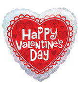 "18"" Happy Valentine&#39s Day Balloon Heart Holographic"