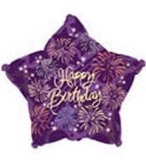 "9"" Airfill Happy Birthday Fireworks Star M140"