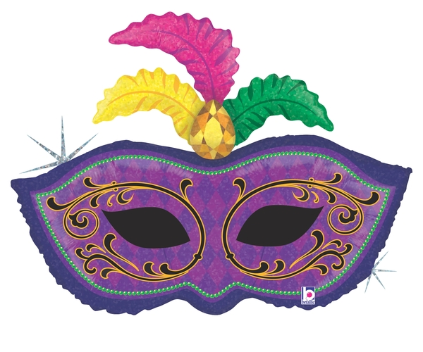 "34"" Holographic Shape Balloon Mardi Gras Feather Mask"