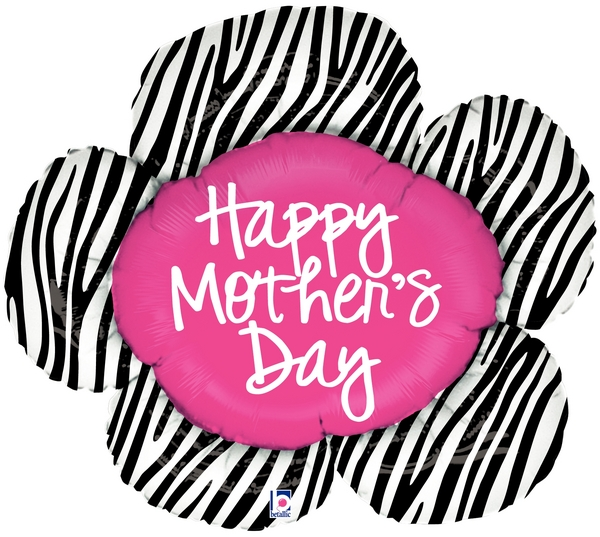 "38"" Foil Shape Balloon Mother's Day Zebra Flower"