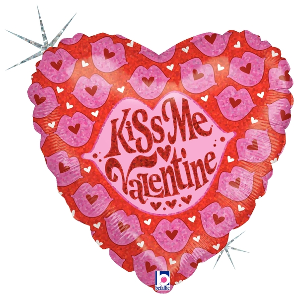 "18"" Holographic Balloon Kiss Me Valentine"