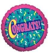 "18"" Congrats Squiggles Mylar Balloon"