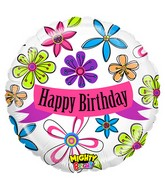 "21"" Mighty Bright Balloon Packaged Mighty Blossom Birthday"
