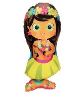 "34""X18"" Luau Hula Girl Super Shape Balloon"