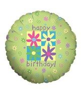 "18"" Balloon Flowers & Phrases Birthday"