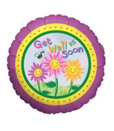 "18"" Balloon Packaged Happy Flowers Get Well"