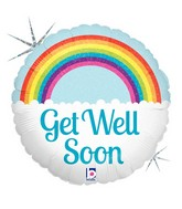 "9"" Airfill Only Holographic Balloon Get Well Soon Rainbow"
